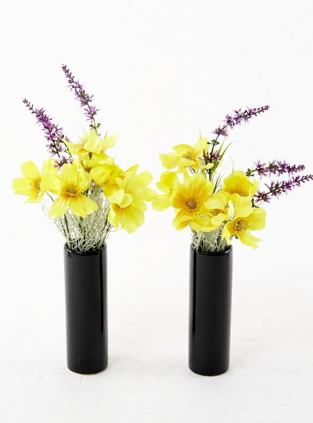 【造花 ミニ供花】コスモスとラベンダーのミニ仏花セット(左右1対)