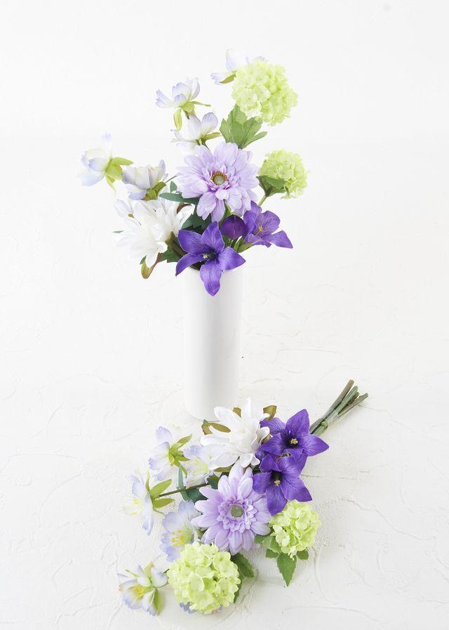 【造花 ミニ供花】ミニオーキッドとカスミソウのミニ仏花セット(左右1対)
