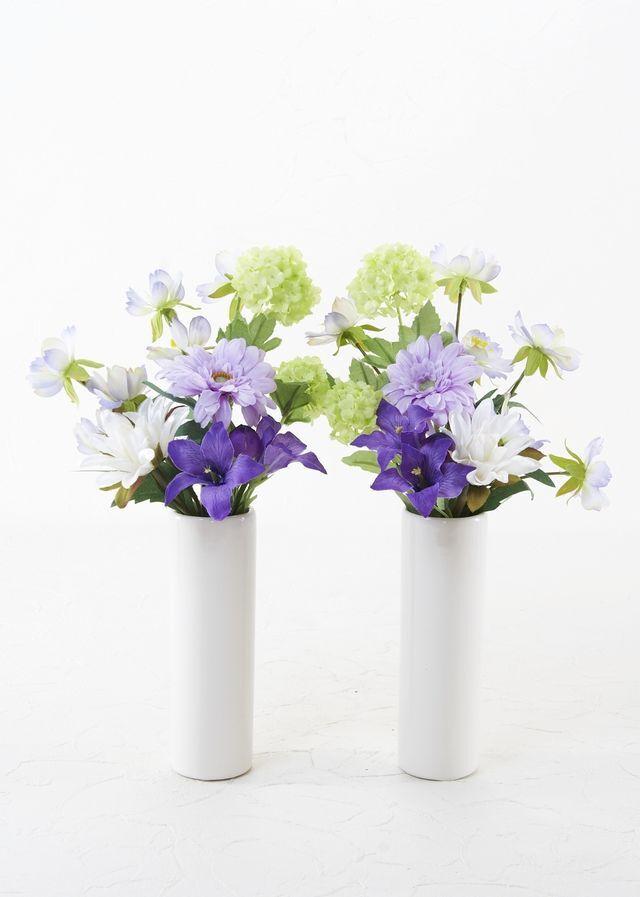 【お墓・仏壇用の造花 供花】ガーベラとビーバナムのミニ仏花セット(左右1対)