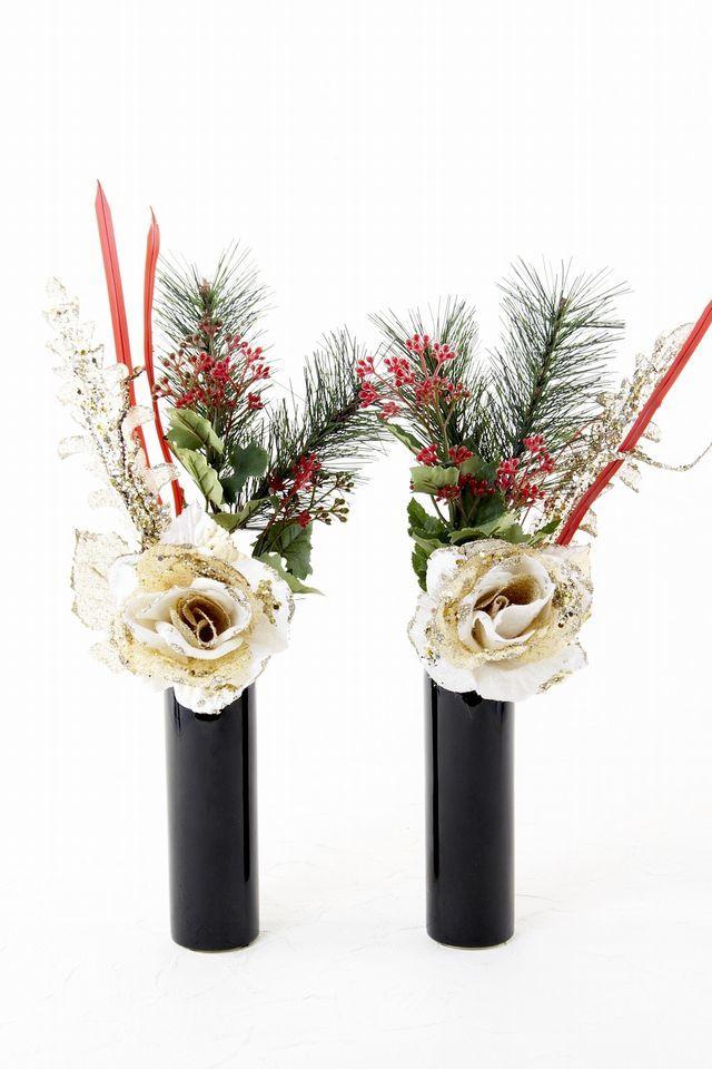 【造花 お正月・迎春用 ミニ供花】ゴールドローズと松のミニ仏花セット(左右1対)
