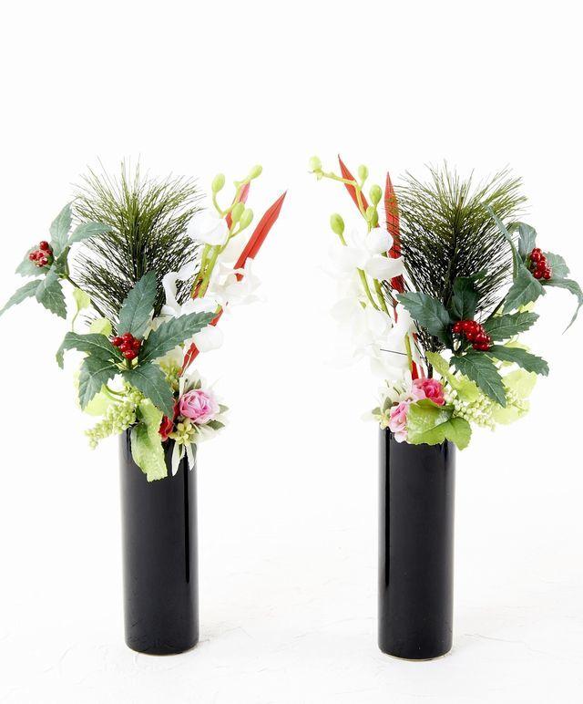 【造花 お正月・迎春用 ミニ供花】白蘭と千両のミニ仏花セット(左右1対)