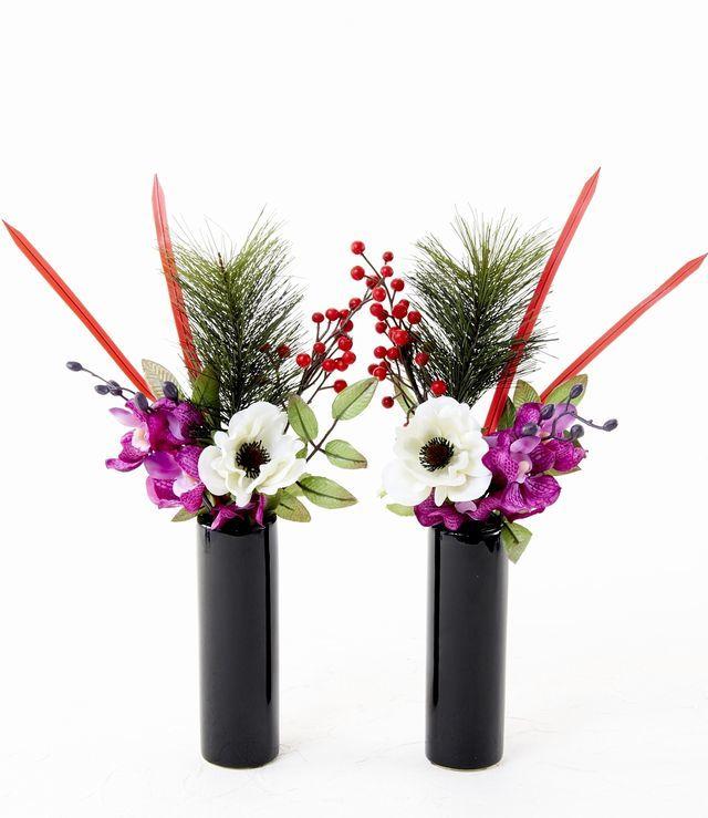 【造花 お正月・迎春用 ミニ供花】蘭とアネモネのミニ仏花セット(左右1対)