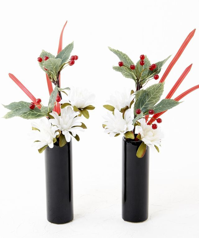 【造花 お正月・迎春用 ミニ供花】ダリアと万両のミニ仏花セット(左右1対)