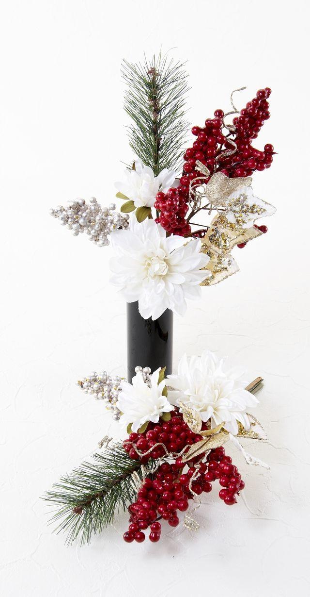 【造花 お正月・迎春用 ミニ供花】ダリアと松のミニ仏花セット(左右1対)