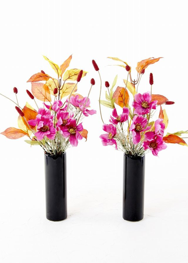 【造花 ミニ供花】コスモスと吾亦紅のミニ仏花セット(左右1対)