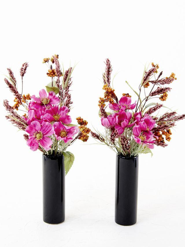 【造花 ミニ供花】コスモスと実物のミニ仏花セット(左右1対)