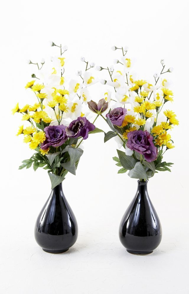 【造花の仏花・供花】ミニ胡蝶蘭&トルコ桔梗の供花(左右1対セット)