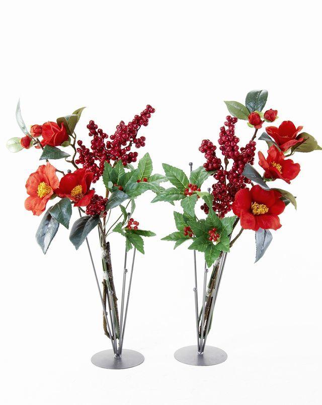 【造花 お正月・迎春用 供花】椿&赤実の供花(左右1対セット)