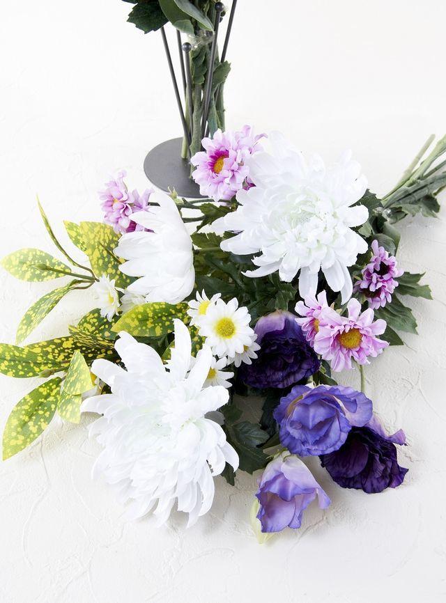 【造花の仏花・供花】菊&トルコキキョウの供花(左右1対セット)