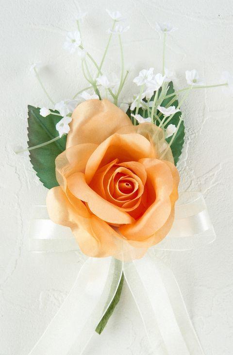 プリンセスローズ&かすみ草のコサージュ(オレンジ)