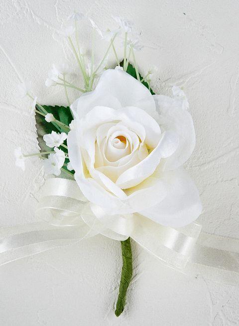 プリンセスローズ&かすみ草のコサージ(ホワイト)