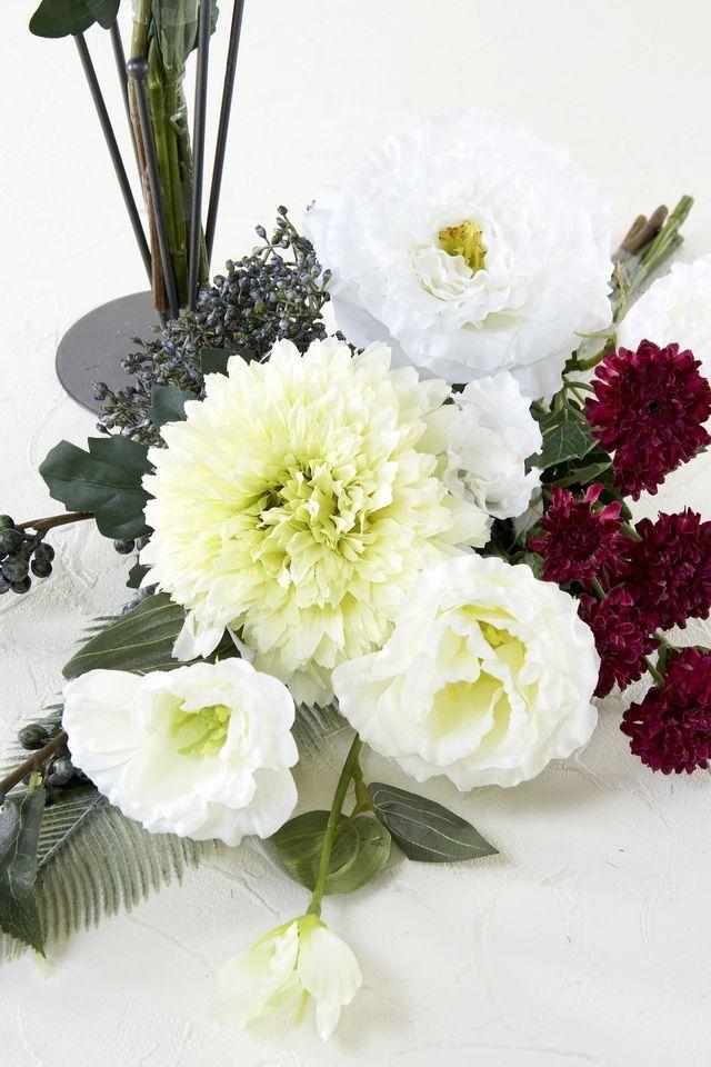 【造花の仏花・供花】デンファレ&フリージアの造花・供花(左右1対セット)