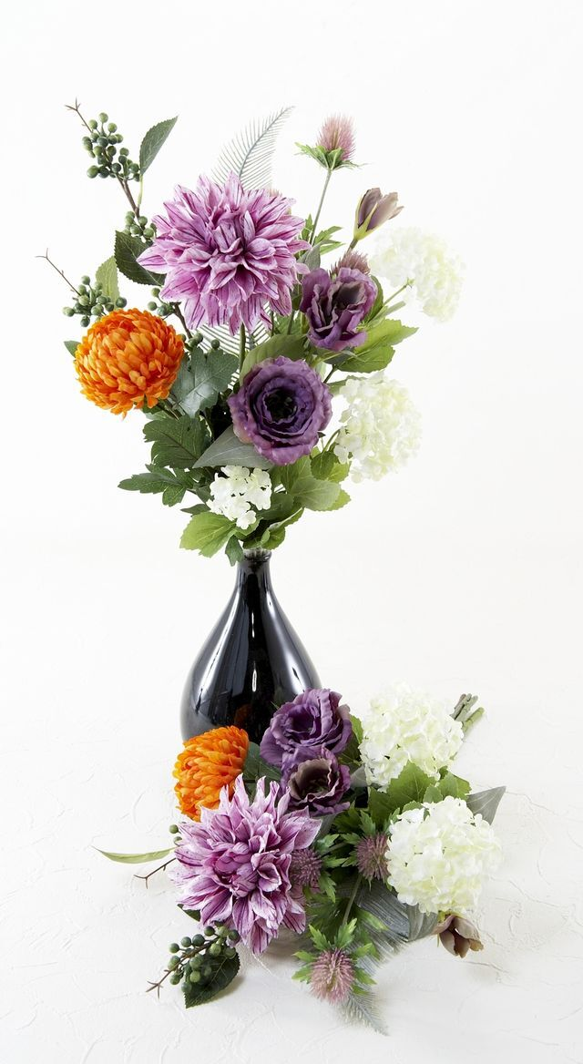 【造花の仏花・供花】トルコキキョウ&ダリアの供花(左右1対セット)