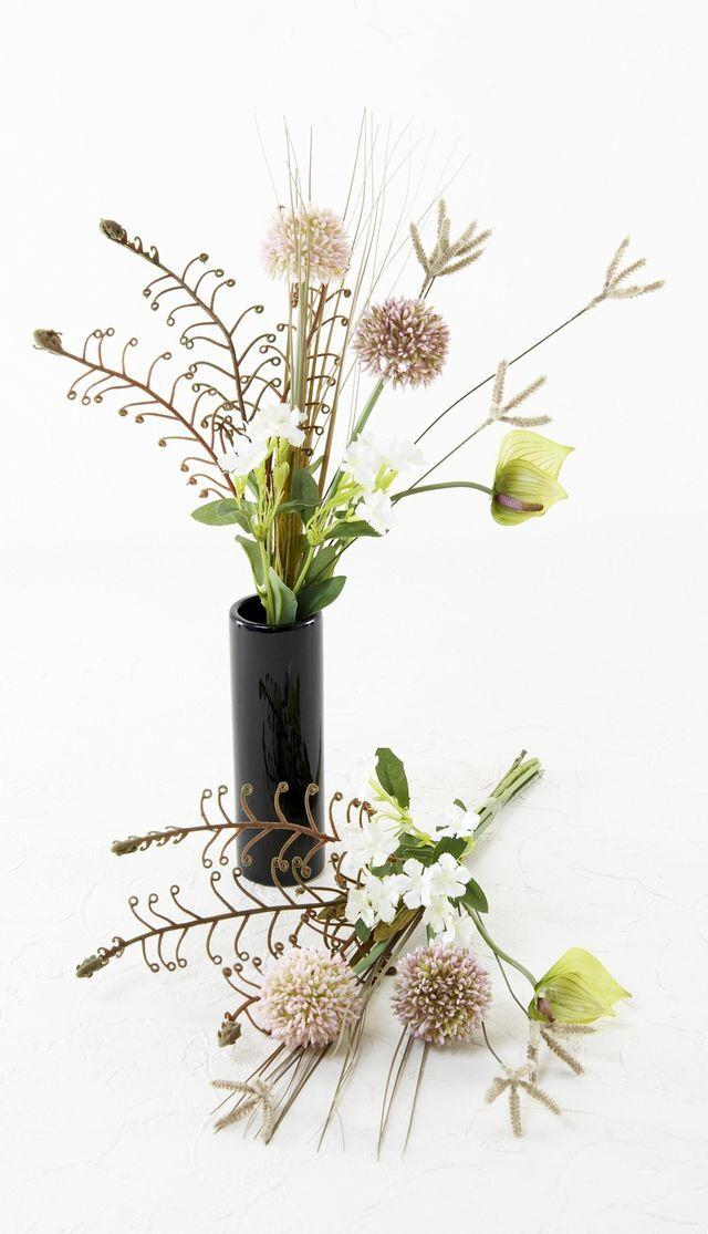 【お墓・仏壇用の造花ミニ供花】アリウムとアンスリュームのコンパクト仏花
