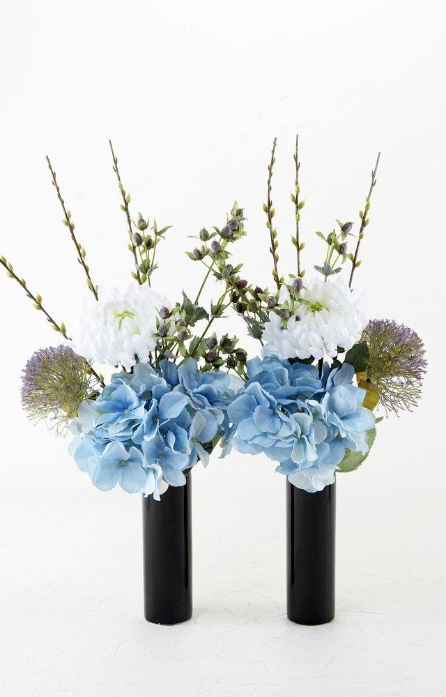 【造花 供花】マムとヒペリカムのシンプルミニ仏花セット(左右1対)