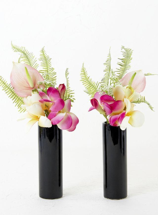 【造花 ミニ供花】プルメリア&アンスリュームのミニ仏花セット(左右1対)