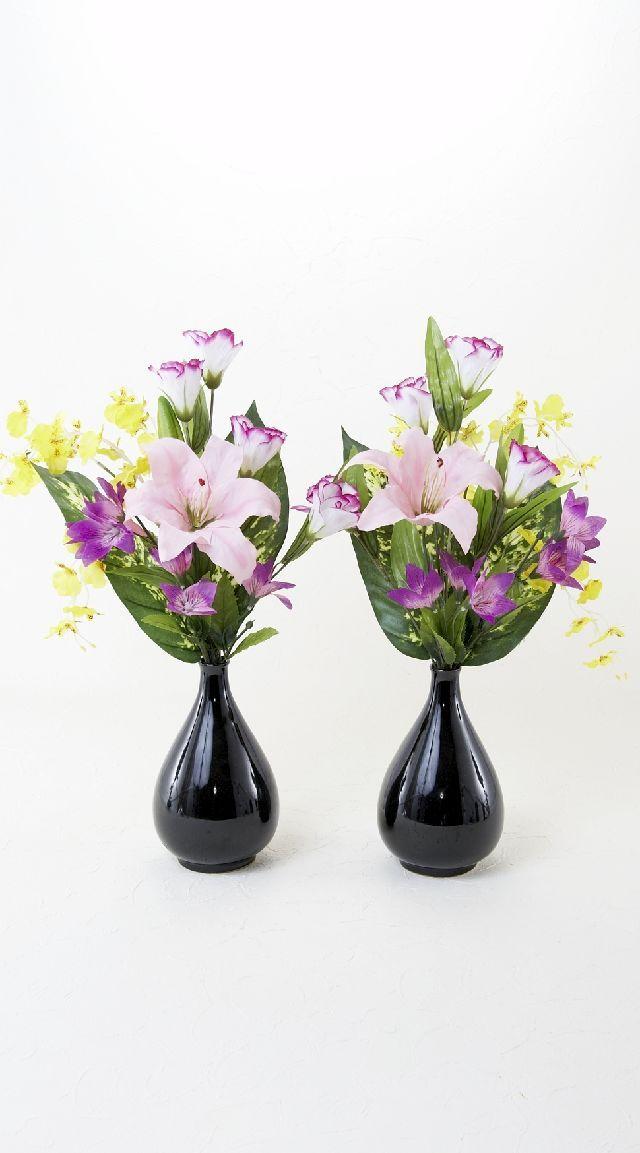 【造花の仏花・供花】百合&オンシジュームの供花(左右1対セット)