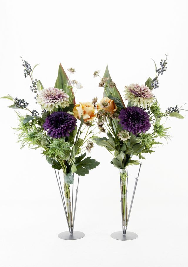 【造花の仏花・供花】薔薇とダリアのシックモダン供花(左右1対セット)