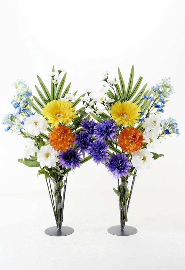 【造花の仏花・供花】ガーベラとダリアのモダン供花(左右1対セット)
