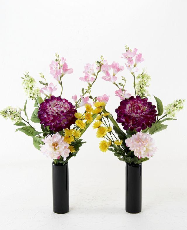 【造花の仏花・供花】ピオニー&マムの供花(左右1対セット)