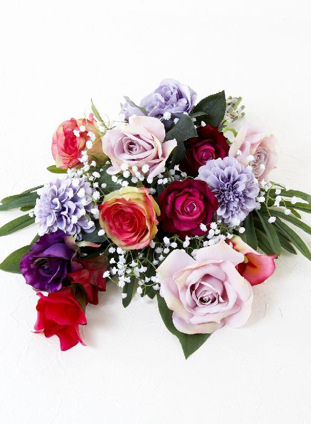 【造花の洋風仏花・供花】薔薇&ダリアのモダンデザイン供花-1束