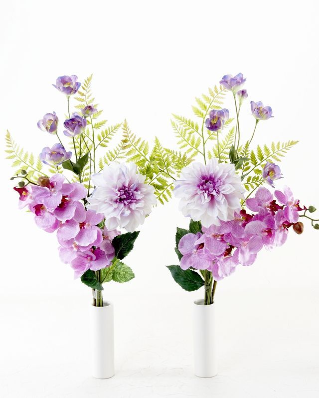 【造花 ミニ供花】パンジー&ガーベラのミニ仏花セット(左右1対)