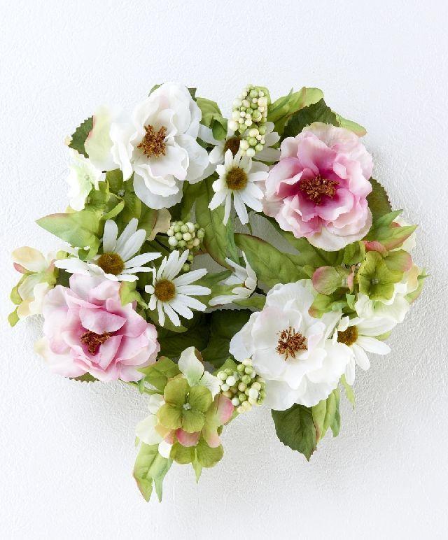 【造花・アーティフィシャルフラワーリース】野ばら&マーガレットリース /ホワイト&ピンクカラー