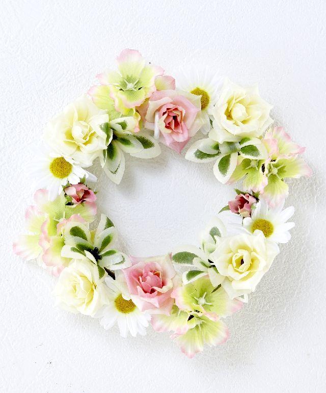 【造花・アーティフィシャルフラワーリース】ミニローズ&デージーリース /ホワイト×ピンク系