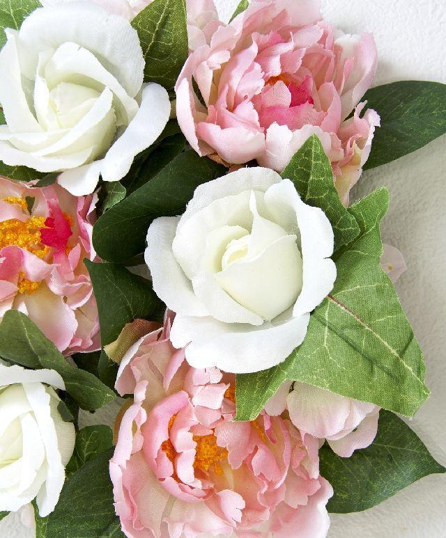 【造花・アーティフィシャルフラワーリース】ローズ&ピオニーリース/ピンクホワイト