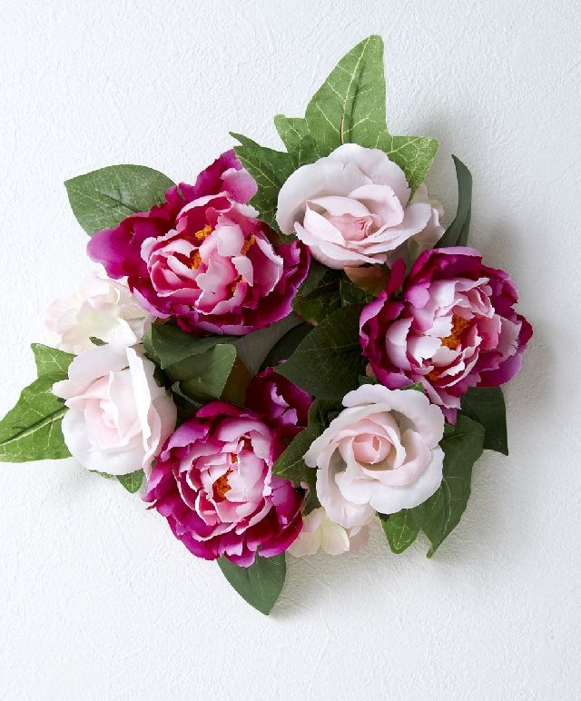【造花・アーティフィシャルフラワーリース】ローズ&ピオニーリース/ワインピンク