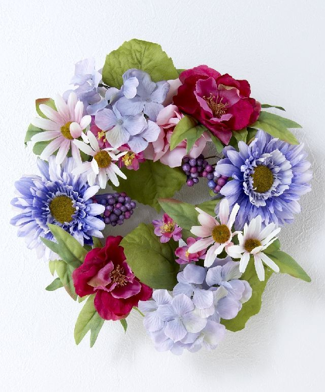 【造花・アーティフィシャルフラワーリース】ガーベラ&野バラリース/ピンクラベンダーミックスカラー