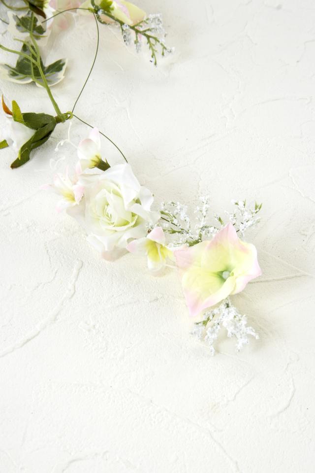 【造花・アートフラワー・シルクフラワー】ローズガーランド/ブライダルピンク