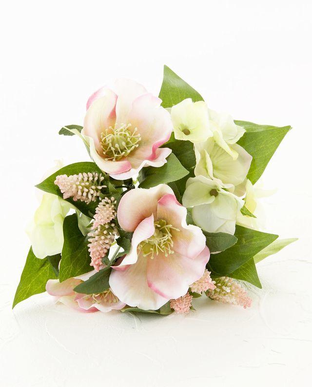 【造花・アートフラワー・シルクフラワー】クリスマスローズのミックスフラワーブッシュ/ピンク