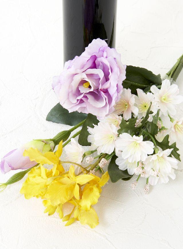 【造花 ミニ供花】トルコキキョウ&エピデンドラムのミニ仏花セット(左右1対)