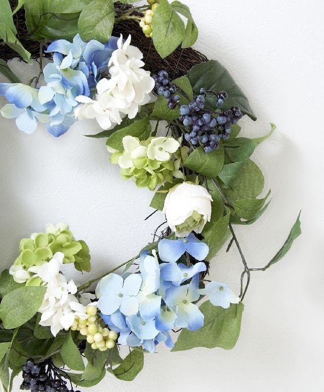 【造花・アーティフィシャルフラワーリース】ハイドレンジア&ベリーリース