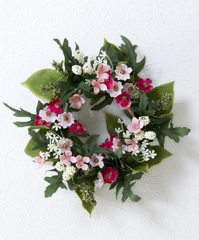 【造花・アーティフィシャルフラワーリース】ミックスリトルフラワーリース/ピンク