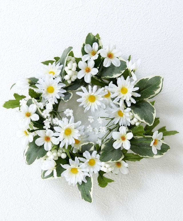 【造花・アーティフィシャルフラワーリース】ホワイトデージーリース