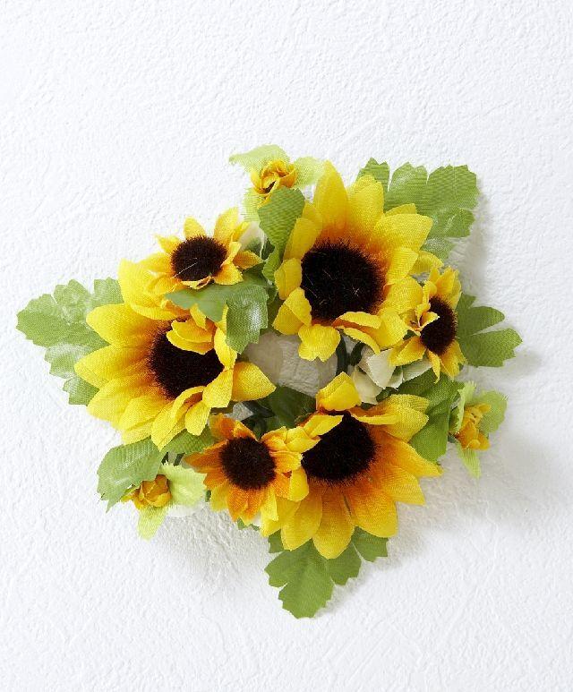 【アートフラワー・造花ミニミニリトルリース】向日葵リングリース