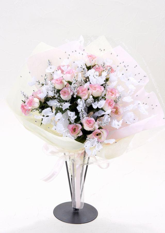 【造花 花束】シャイニーローズブーケ(ミルキーピンクピンク)