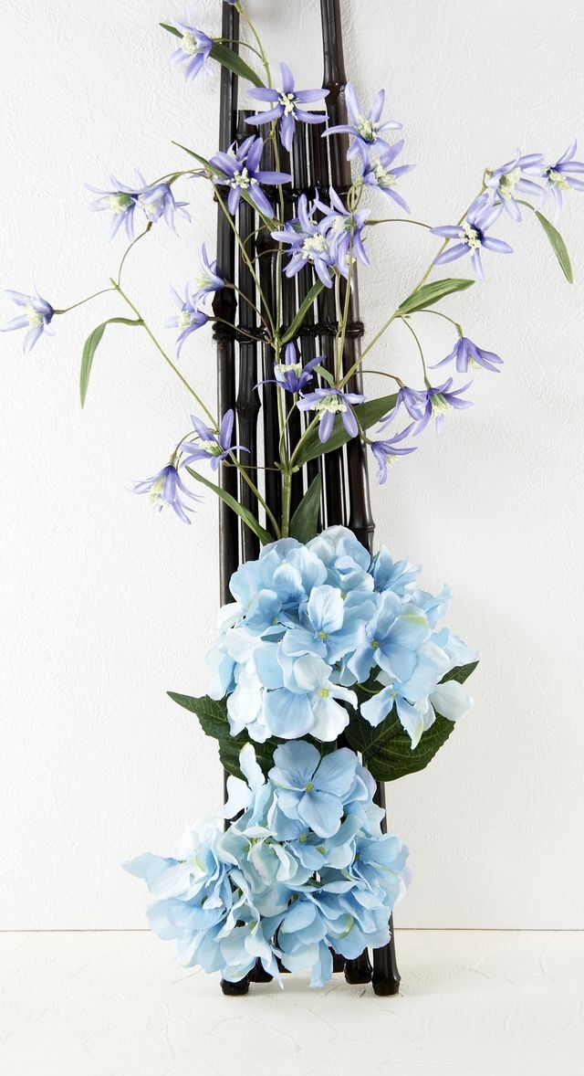 【和風壁掛け・造花 アーティフィシャルフラワー・ オリジナルハンギングアレンジ】卯縷々-うるる-