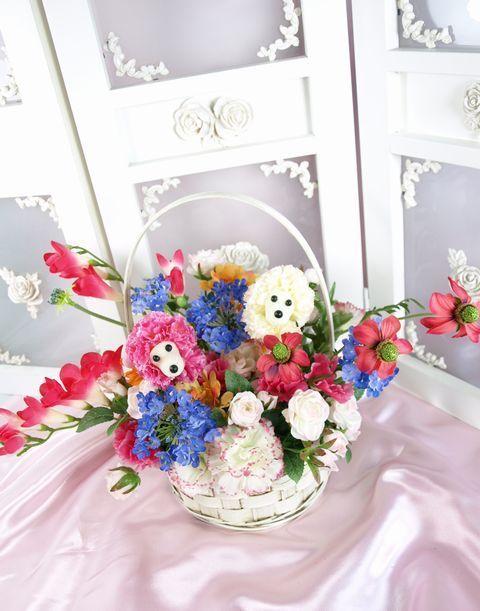【造花アレンジ】スマイル☆ツインキュートプードル(ピンク)