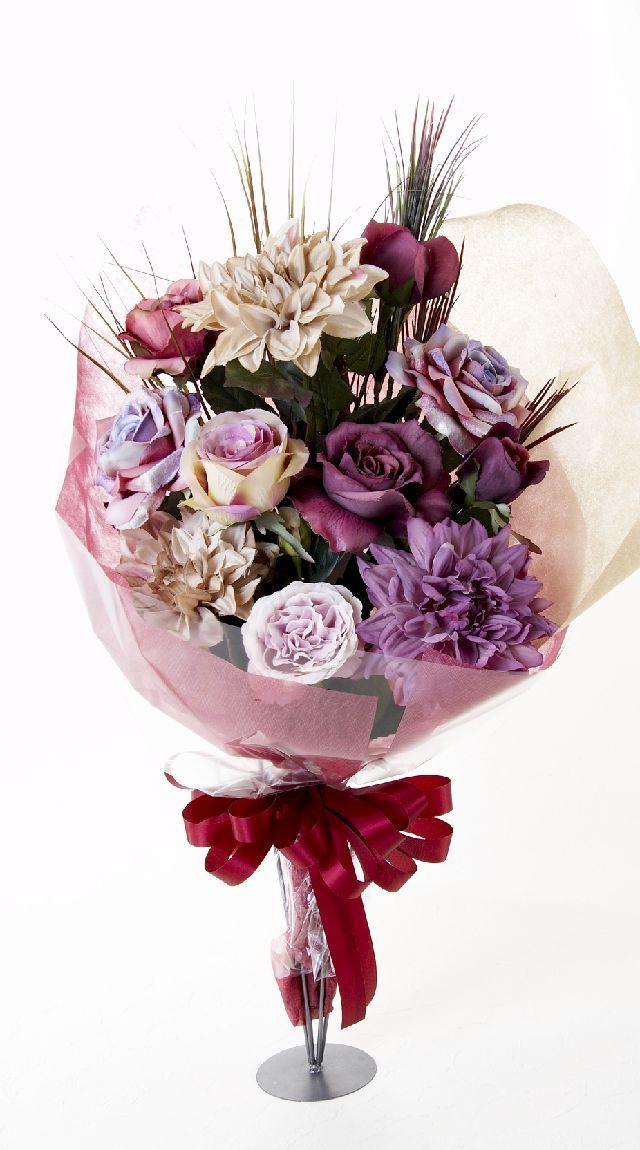 【贈答・贈呈用・ギフトの造花花束】ジュエルガーネット・ブーケ