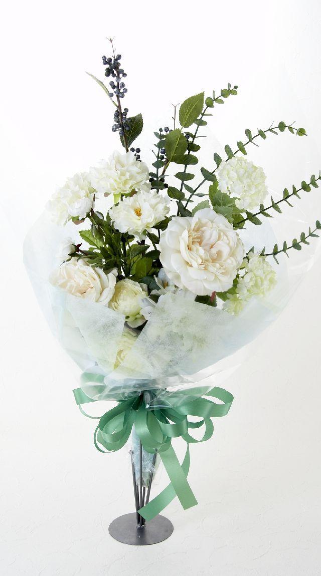 【贈答・贈呈用・ギフトの造花花束】ラフィネホワイト・ブーケ