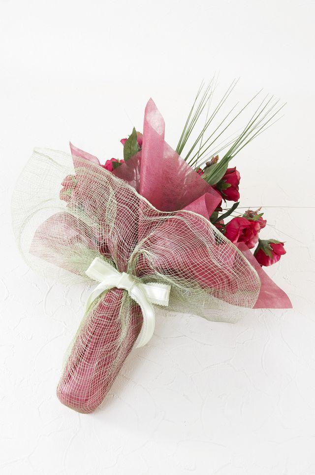 【アーティフィシャルフラワー インテリアブーケアレンジ 】ガーデンローズとベアグラスの花束風アレンジメント