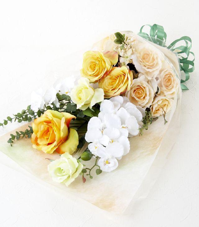 【贈答・贈呈用・ギフトの造花花束】ビアンコラッテ・ブーケ