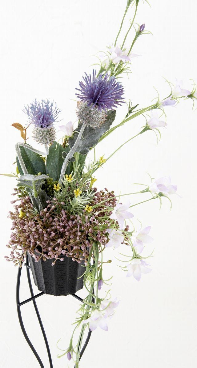 【造花デザインハンギングスタンドアレンジメント】紫里-yukari