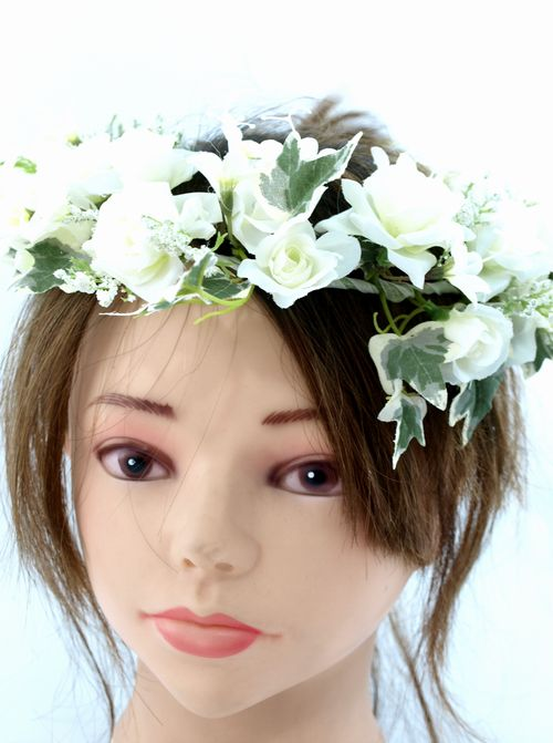 【アートフラワー ヘッドドレス】ブライダルローズ/ホワイト