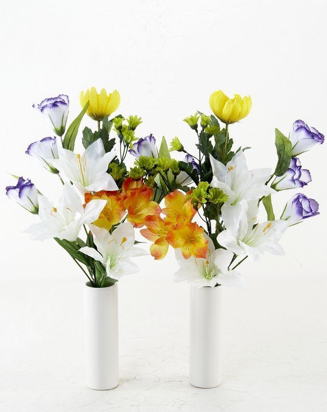 【造花 ミニ供花】マルチカラーのアネモネ&マム・ミニ仏花セット(左右1対)