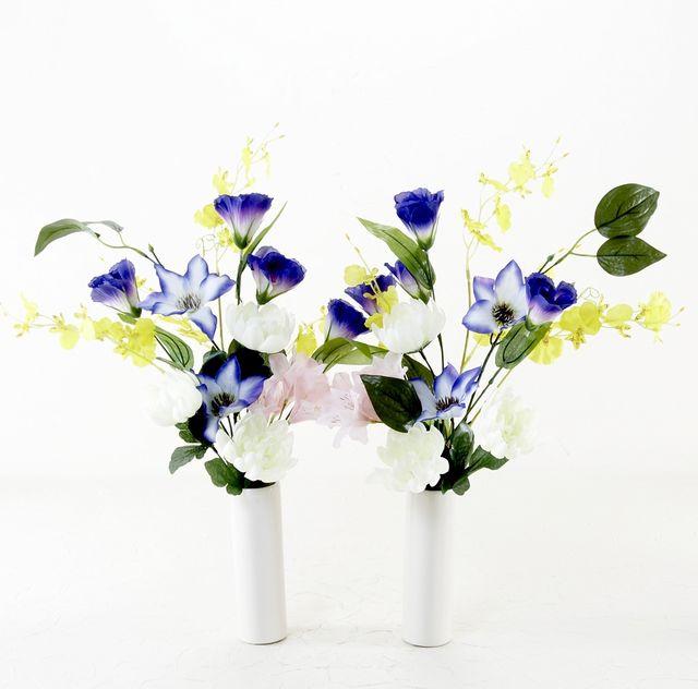 【造花 ミニ供花】マム&ユーカリのミニ仏花セット(左右1対)