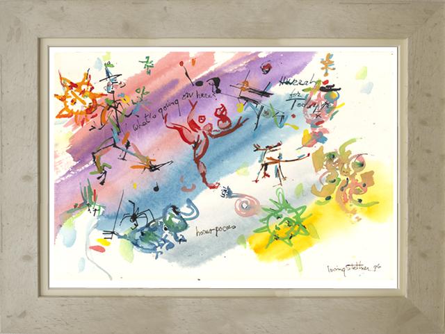 絵画「Hurrah For Today!」アーヴィング・ステットナー/ジクレー ☆スタイリッシュであじわいのある白の額入